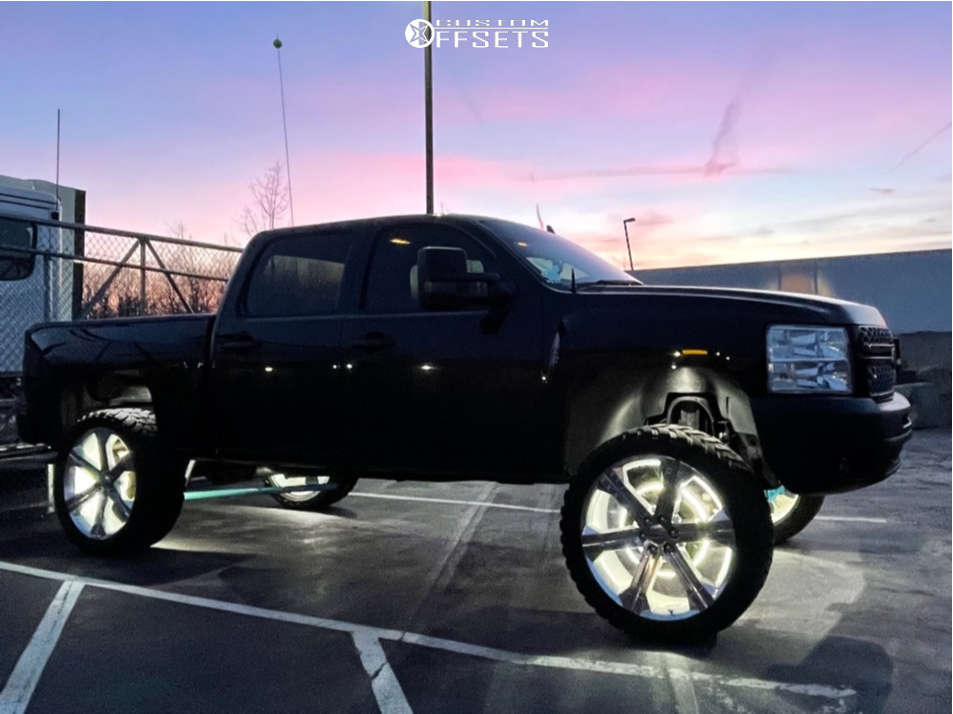 """2013 Chevrolet Silverado 1500 Aggressive > 1"""" outside fender on 26x10 30 offset Reps G13 & 37""""x13.5"""" AMP Mud Terrain Attack M/t A on Suspension Lift 7.5"""" - Custom Offsets Gallery"""