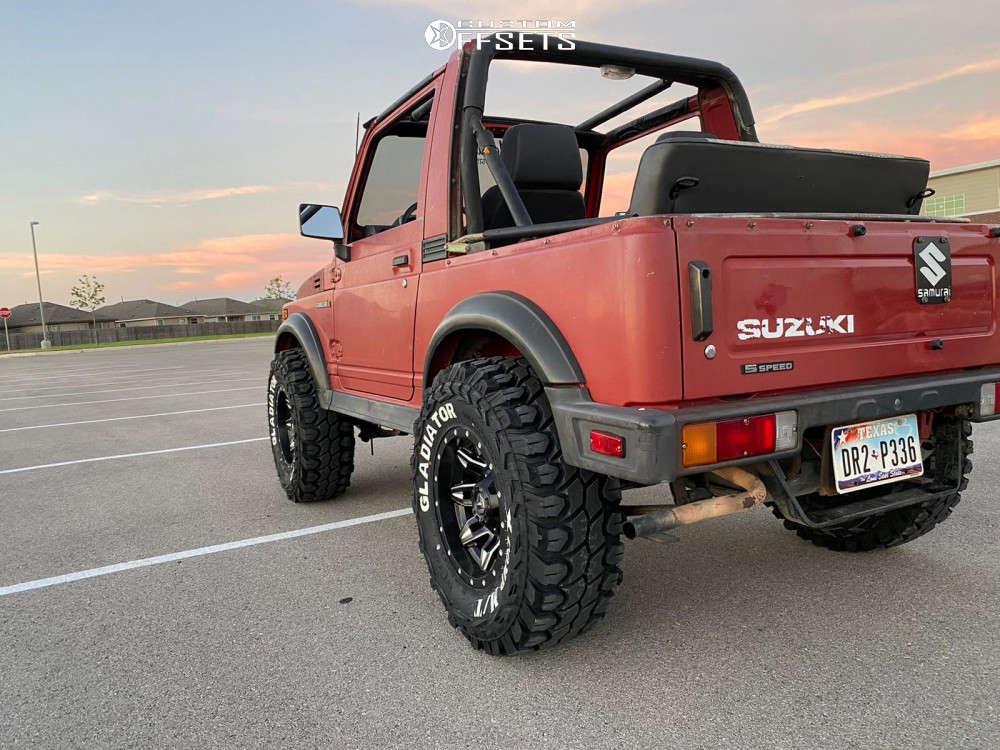 "1988 Suzuki Samurai Aggressive > 1"" outside fender on 15x8 0 offset Fuel Lethal & 31""x10.5"" Gladiator Xcomp Mt on Stock Suspension - Custom Offsets Gallery"