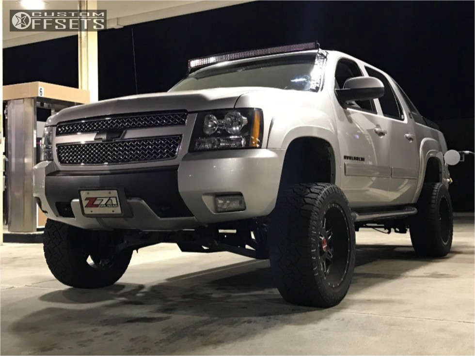 """2010 Chevrolet Avalanche Super Aggressive 3""""-5"""" on 20x12 -44 offset Moto Metal Mo975 and 33""""x12.5"""" Nitto Exo Grappler on Suspension Lift 7.5"""" - Custom Offsets Gallery"""