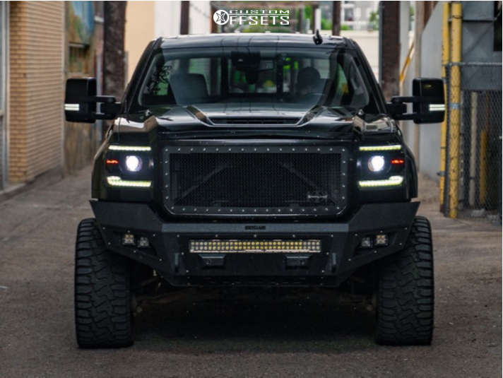 """2019 GMC Sierra 3500 HD Aggressive > 1"""" outside fender on 24x12 -44 offset GT Offroad Aggression & 33""""x14.5"""" Haida Hd878 R/t on Suspension Lift 3.5"""" - Custom Offsets Gallery"""