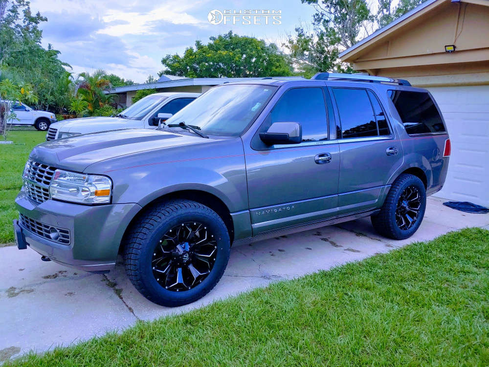 """2014 Lincoln Navigator Slightly Aggressive on 20x9.5 19 offset Fuel Assault & 33""""x12.5"""" Milestar Patagonia At R on Stock Suspension - Custom Offsets Gallery"""