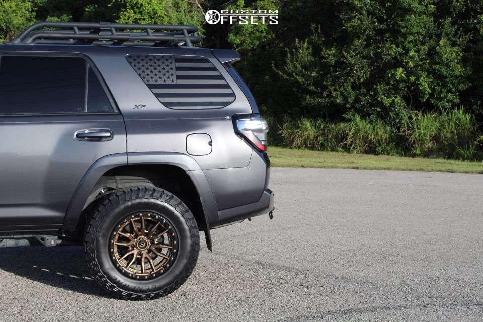 "2018 Toyota 4Runner Slightly Aggressive on 18x9 -12 offset Fuel Rebel & 33""x10.5"" General Grabber Atx on Suspension Lift 3"" - Custom Offsets Gallery"