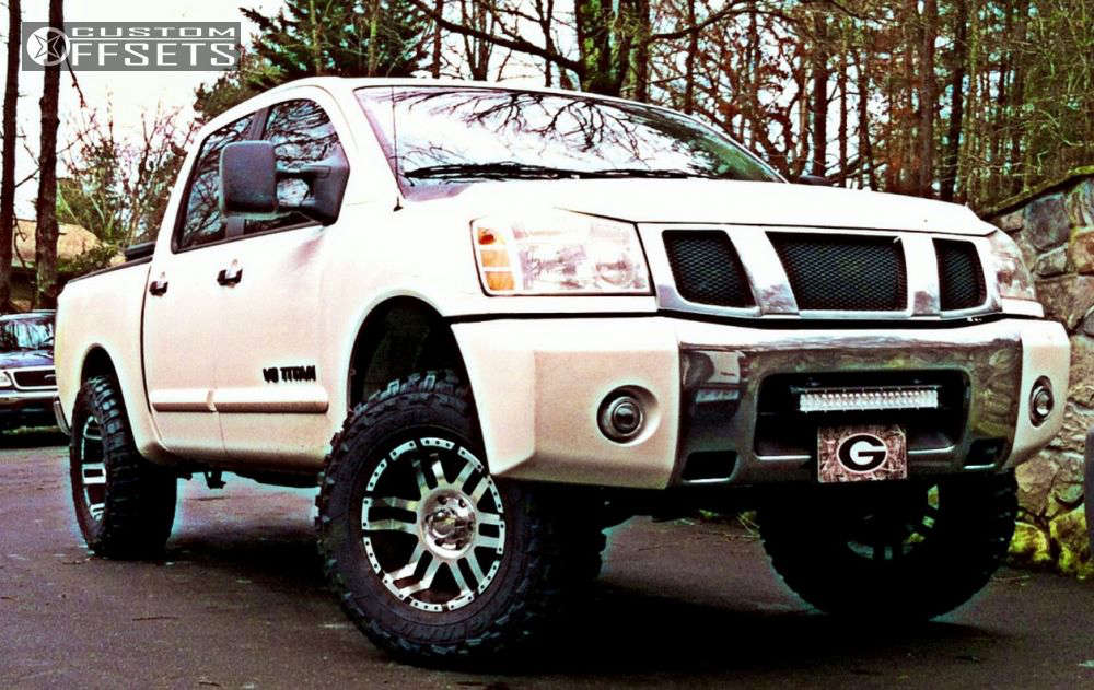 """2006 Nissan Titan Aggressive > 1"""" outside fender on 18x9 -11 offset American Eagle 197 and 35""""x12.5"""" Federal Couragia MT on Suspension Lift 4.5"""" - Custom Offsets Gallery"""