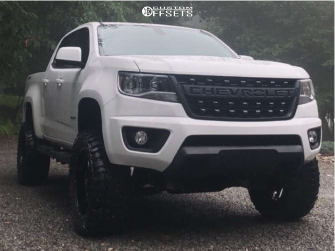 "2017 Chevrolet Colorado Aggressive > 1"" outside fender on 20x9 0 offset Mayhem Warrior & 33""x12.5"" Mickey Thompson Baja Boss M/t on Suspension Lift 5.5"" - Custom Offsets Gallery"