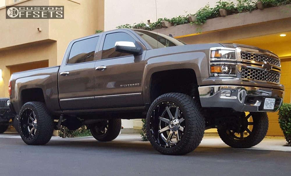 "2014 Chevrolet Silverado 1500 Aggressive > 1"" outside fender on 24x12 -44 offset Fuel Maverick D260 & 325/45 Atturo Trail Blade Xt on Suspension Lift 9"" - Custom Offsets Gallery"