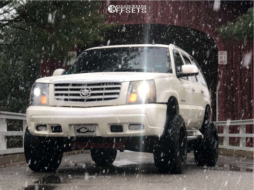 "2003 Cadillac Escalade Super Aggressive 3""-5"" on 20x12 -44 offset TIS 544mb & 33""x12.5"" Venom Power Terra Hunter X/t on Suspension Lift 6"" - Custom Offsets Gallery"