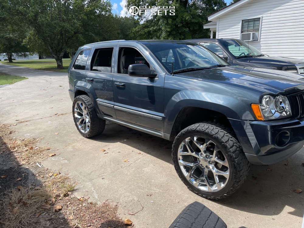 """2007 Jeep Grand Cherokee Aggressive > 1"""" outside fender on 24x10 0 offset Chevy Snowflakes & 35""""x13.5"""" Haida Mud Champ on Suspension Lift 4"""" - Custom Offsets Gallery"""