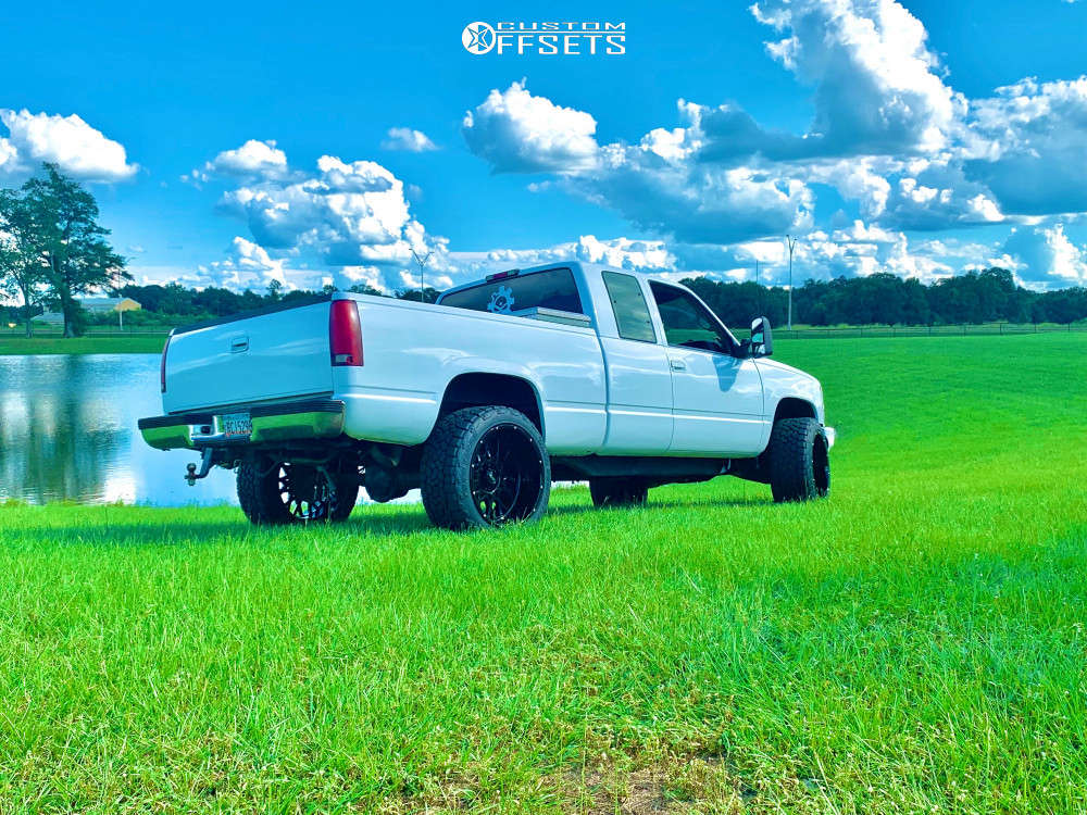 """1995 Chevrolet K1500 Aggressive > 1"""" outside fender on 22x12 -51 offset Vision Rocker & 33""""x12.5"""" Toyo Tires Open Country A/t Ill on Suspension Lift 2.5"""" - Custom Offsets Gallery"""