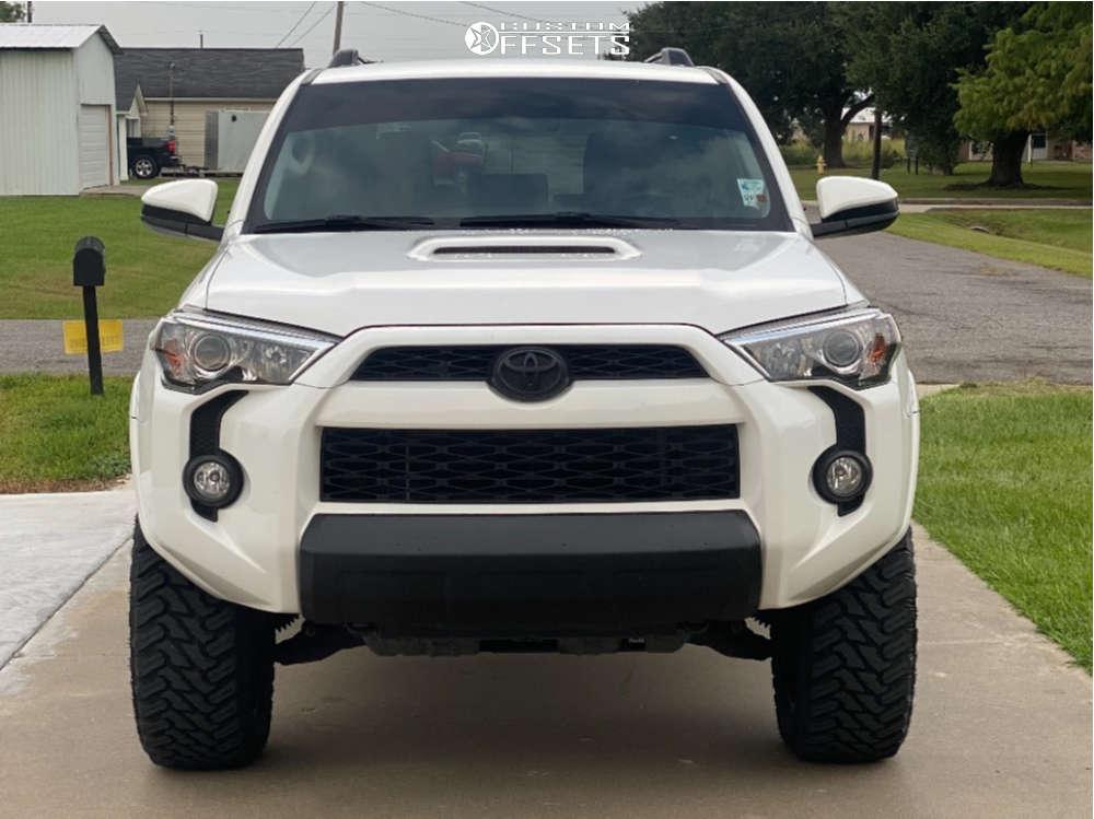 "2019 Toyota 4Runner Aggressive > 1"" outside fender on 20x9 0 offset Ballistic Hawk & 285/50 Atturo Trail Blade Mt on Leveling Kit - Custom Offsets Gallery"