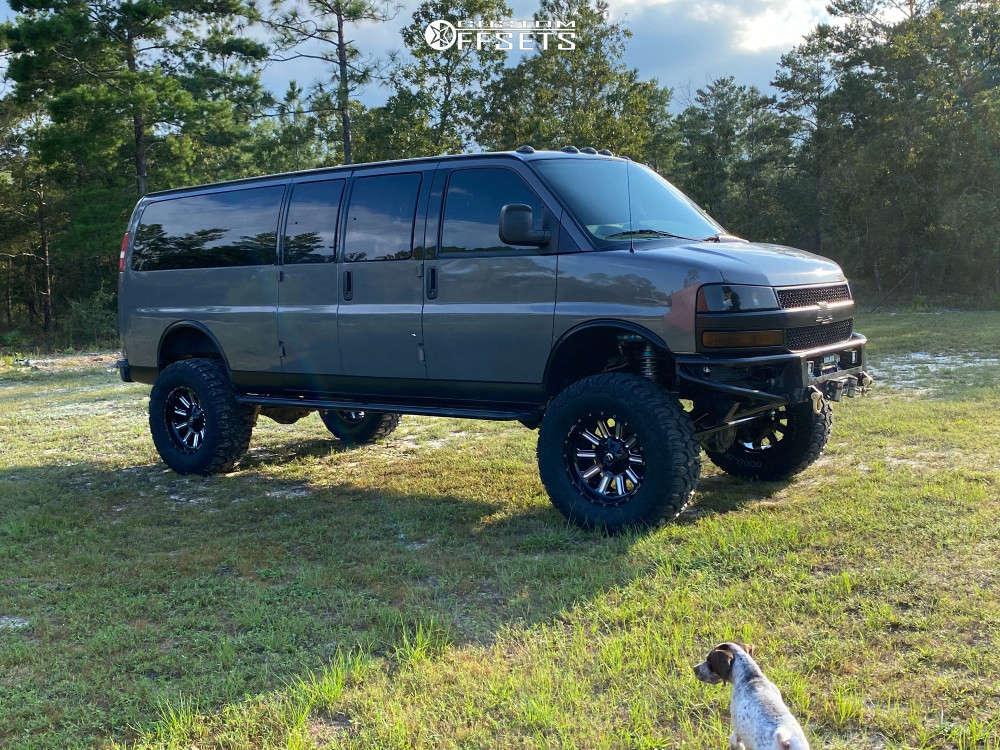 "2005 Chevrolet Express 3500 Aggressive > 1"" outside fender on 20x10 0 offset Fuel Hardline & 38""x15.5"" Milestar Patagonia Mt on Suspension Lift 10"" - Custom Offsets Gallery"