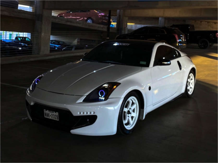 2004 Nissan 350Z Tucked on 17x8.25 40 offset AVID1 Av06 & 245/45 Vercelli Strada Ii on Stock Suspension - Custom Offsets Gallery