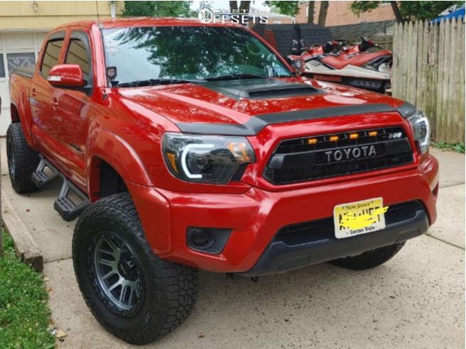 """2012 Toyota Tacoma Aggressive > 1"""" outside fender on 17x9 12 offset Vision Nemesis & 265/70 Falken Wildpeak A/t on Suspension Lift 2.5"""" - Custom Offsets Gallery"""