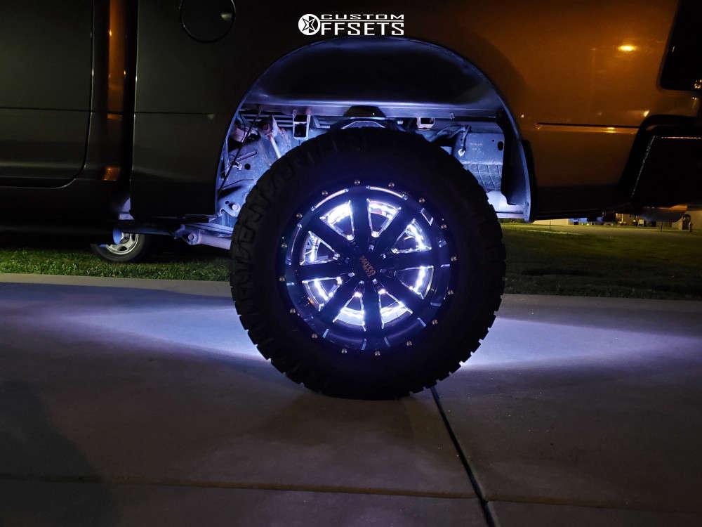 "2011 Ram 1500 Aggressive > 1"" outside fender on 20x12 -44 offset Moto Metal Mo962 & 35""x12.5"" Nitto Ridge Grappler on Suspension Lift 6"" - Custom Offsets Gallery"