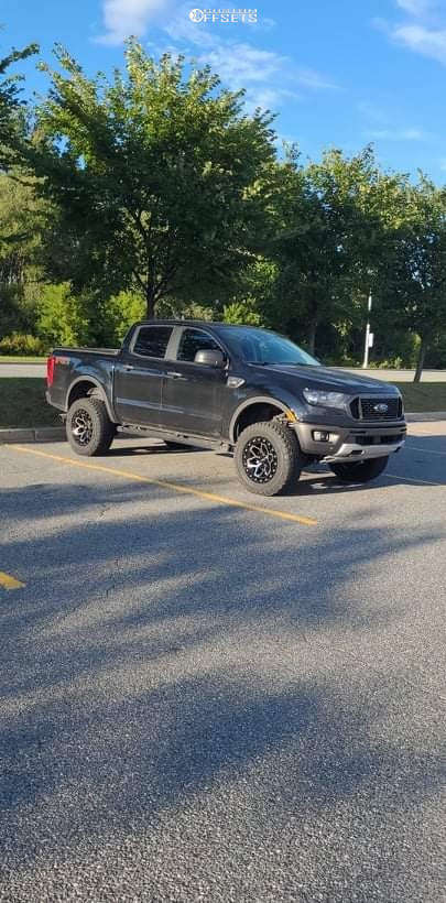 """2021 Ford Ranger Aggressive > 1"""" outside fender on 18x9 0 offset RTX Offroad Zion & 285/60 General Grabber Atx on Suspension Lift 3"""" - Custom Offsets Gallery"""