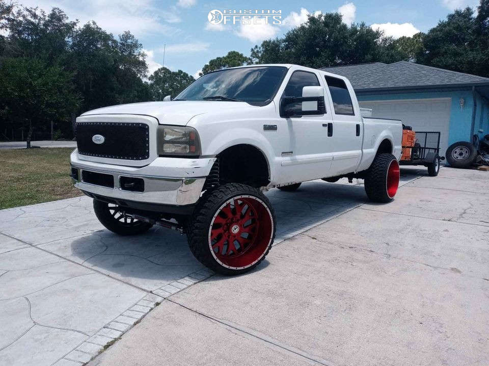 """2003 Ford F-250 Super Duty Super Aggressive 3""""-5"""" on 26x14 -76 offset XF Forged Xfx-303 & 37""""x14"""" Fury Offroad Country Hunter M/t on Suspension Lift 8"""" - Custom Offsets Gallery"""