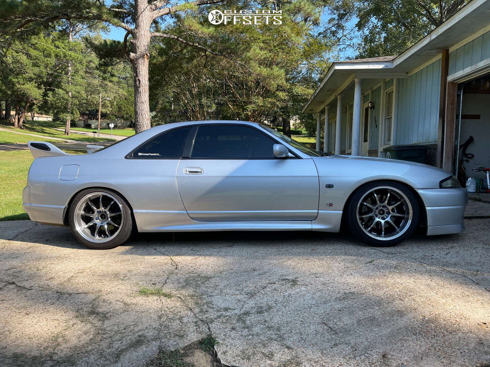 1995 Nissan Skyline R33 Flush on 18x10.5 15 offset Work Emotion D9r & 285/35 Sumitomo Htr Ziii on Coilovers - Custom Offsets Gallery