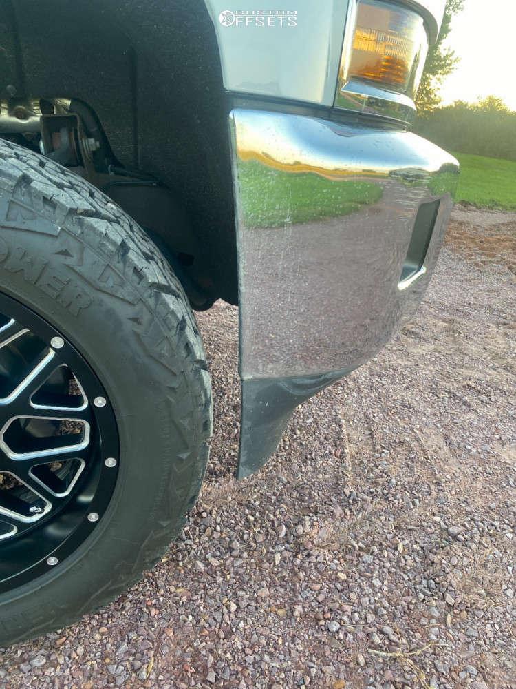 "2016 Chevrolet Silverado 3500 HD Aggressive > 1"" outside fender on 20x10 -24 offset XD Grenade & 32""x11.5"" Venom Power Terra Hunter X/t on Stock Suspension - Custom Offsets Gallery"