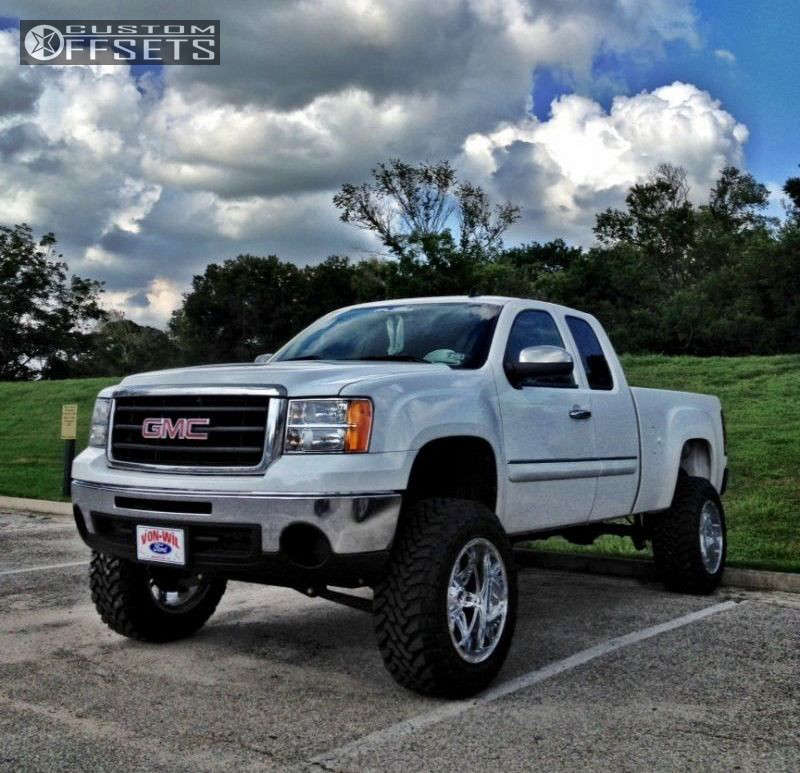"""2010 GMC Sierra 1500 Super Aggressive 3""""-5"""" on 20x12 -44 offset Fuel Hostage and 35""""x12.5"""" Toyo Tires Open Country M/T on Lifted >9"""" - Custom Offsets Gallery"""