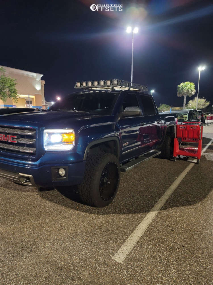 """2015 GMC Sierra 1500 Aggressive > 1"""" outside fender on 22x12 -44 offset Anthem Off-Road Instigator & 33""""x12.5"""" Toyo Tires Open Country A/t Ill on Leveling Kit - Custom Offsets Gallery"""