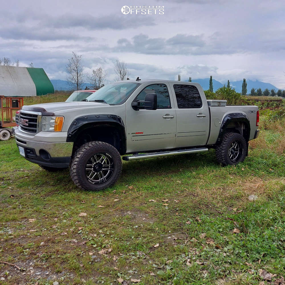 """2008 GMC Sierra 1500 Aggressive > 1"""" outside fender on 20x10 -18 offset Moto Metal Mo992 & 35""""x12.5"""" Back Country M/t on Suspension Lift 6"""" - Custom Offsets Gallery"""