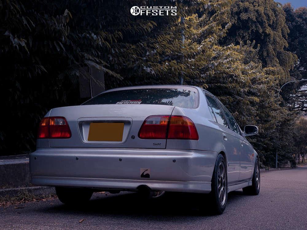 1997 Honda Civic Nearly Flush on 15x7 35 offset WedsSport Tc-105n & 195/55 Yokohama Advan Neova Ad08r on Coilovers - Custom Offsets Gallery