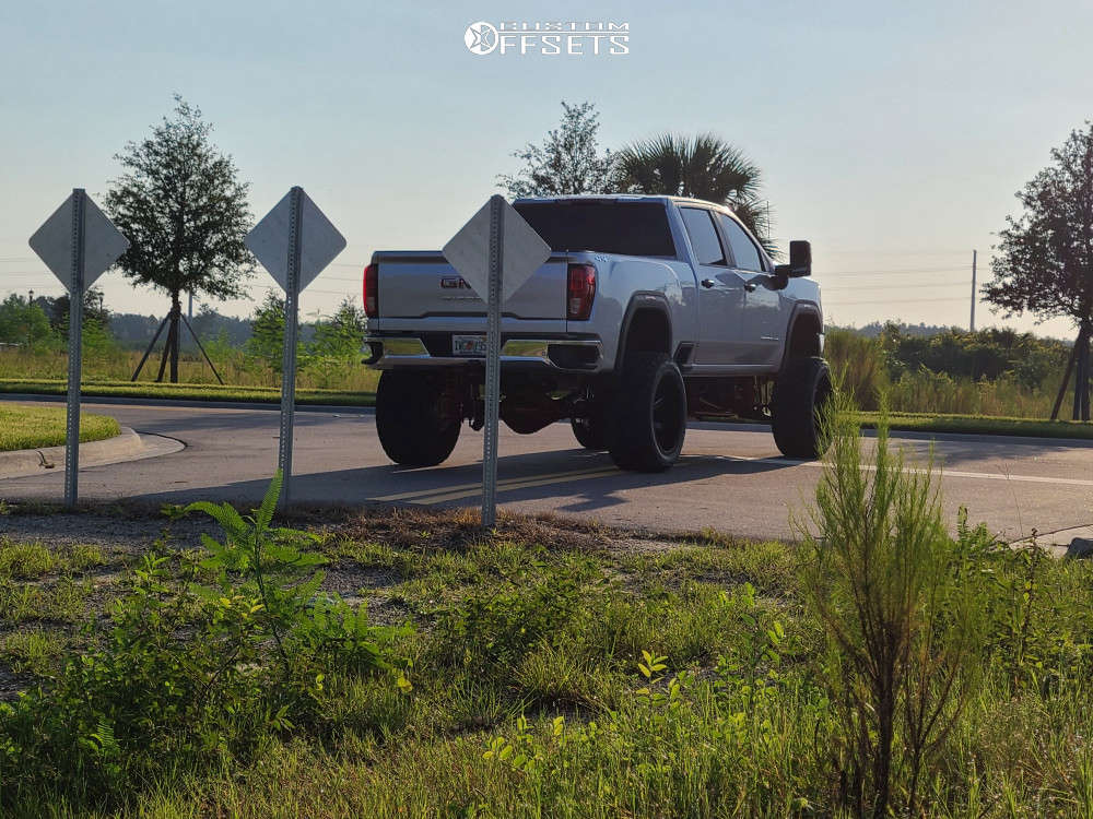 """2020 GMC Sierra 2500 HD Aggressive > 1"""" outside fender on 24x14 -76 offset ARKON OFF-ROAD Lincoln & 38""""x15.5"""" Fury Country Hunter Mt on Suspension Lift 10"""" - Custom Offsets Gallery"""