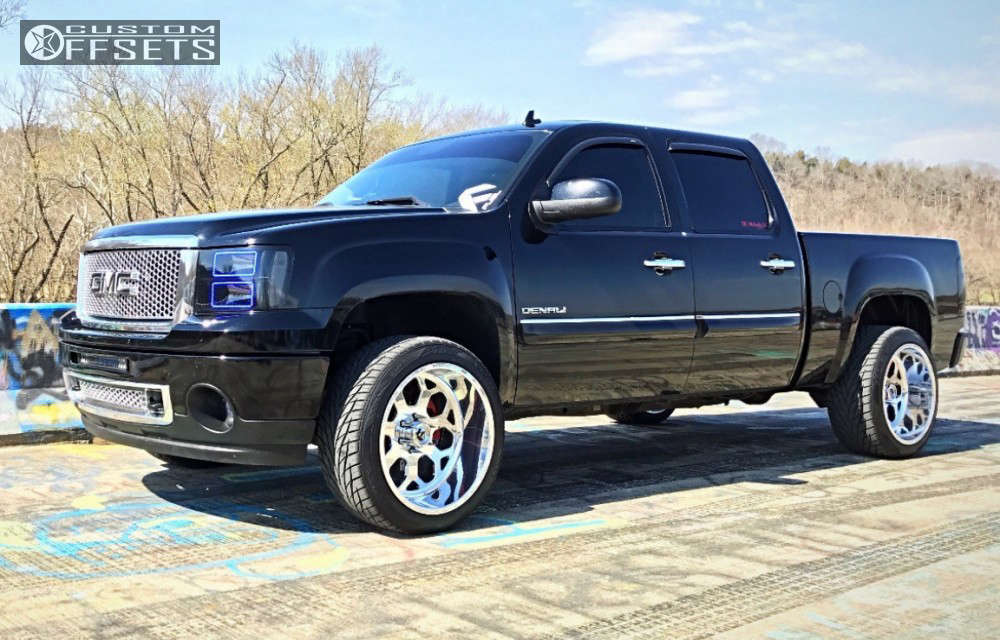 """2012 GMC Sierra 1500 Aggressive > 1"""" outside fender on 22x12 -51 offset Fuel Forged Ff14 and 305/40 Toyo Tires Proxes S/t on Leveling Kit - Custom Offsets Gallery"""