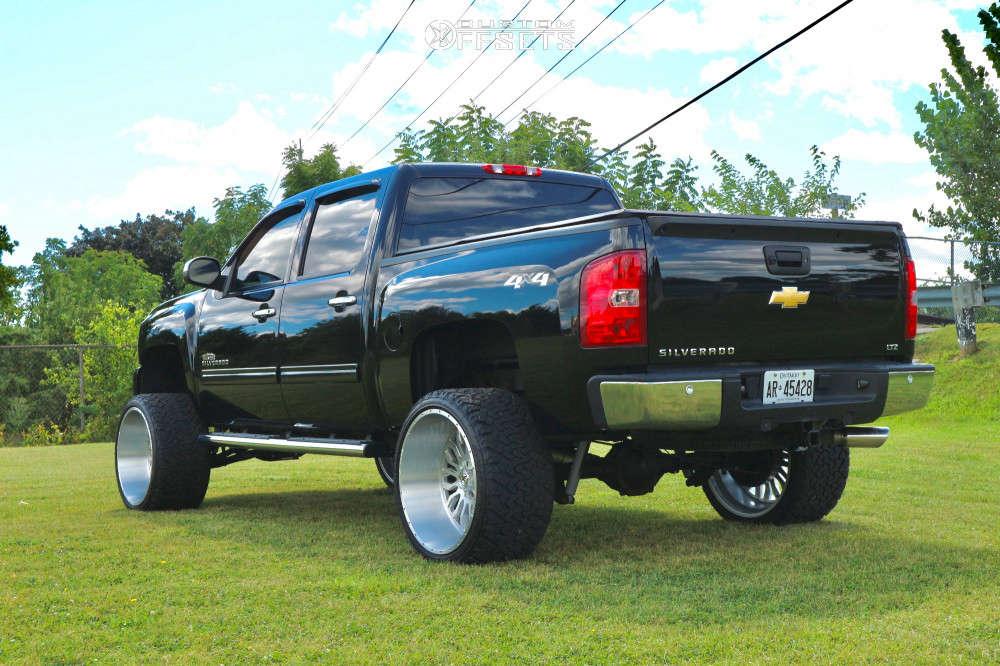 "2013 Chevrolet Silverado 1500 Hella Stance >5"" on 24x14 -76 offset XF Flow Xfx-305 & 33""x13.5"" Venom Power Terra Hunter X/t on Suspension Lift 7.5"" - Custom Offsets Gallery"
