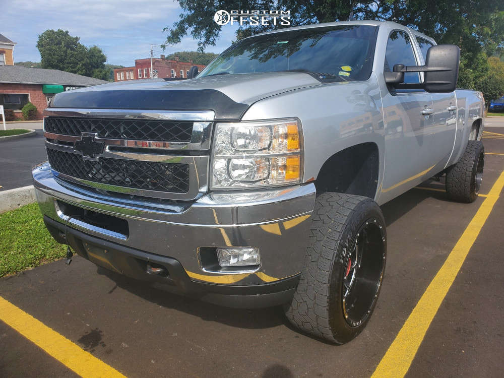 """2013 Chevrolet Silverado 2500 HD Aggressive > 1"""" outside fender on 22x12 -44 offset Asanti AB810 & 305/45 Toyo Open Country A/t Iii on Suspension Lift 3.5"""" - Custom Offsets Gallery"""