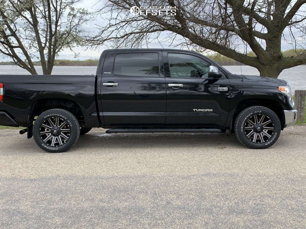 2017 Toyota Tundra Slightly Aggressive on 20x9 20 offset Fuel Contra & 255/10.5 Cooper Discoverer At3 4s on Stock Suspension - Custom Offsets Gallery