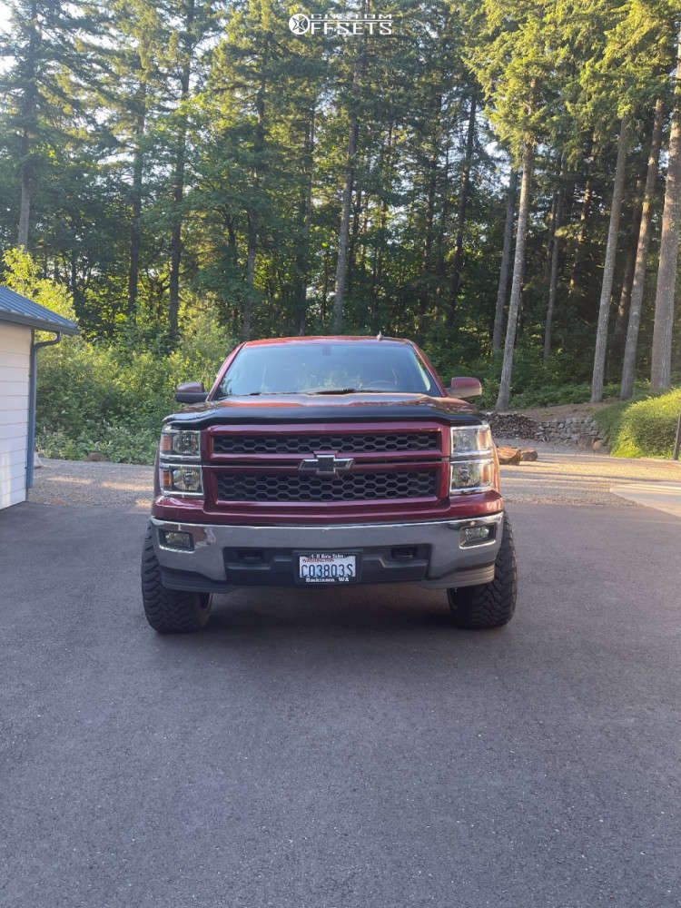"""2014 Chevrolet Silverado 1500 Aggressive > 1"""" outside fender on 22x12 -44 offset Hostile Rage & 33""""x12.5"""" Toyo Tires Open Country M/t on Suspension Lift 6"""" - Custom Offsets Gallery"""