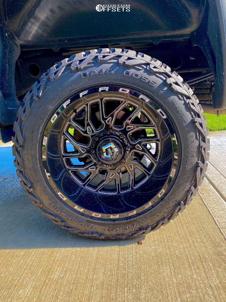 "2018 GMC Sierra 1500 Aggressive > 1"" outside fender on 20x12 -44 offset TIS 544bm & 33""x12.5"" Mickey Thompson Baja Boss A/t on Suspension Lift 5"" - Custom Offsets Gallery"