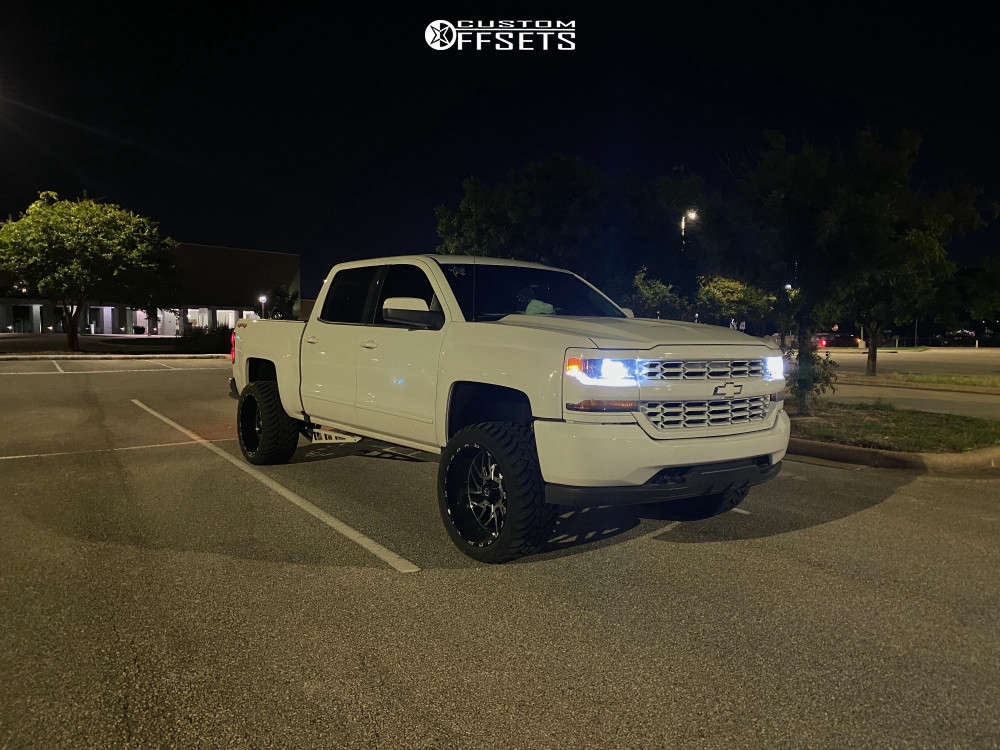 """2018 Chevrolet Silverado 1500 Aggressive > 1"""" outside fender on 22x12 -51 offset TIS 544mb & 33""""x12.5"""" AMP Mud Terrain Attack M/t A on Leveling Kit - Custom Offsets Gallery"""