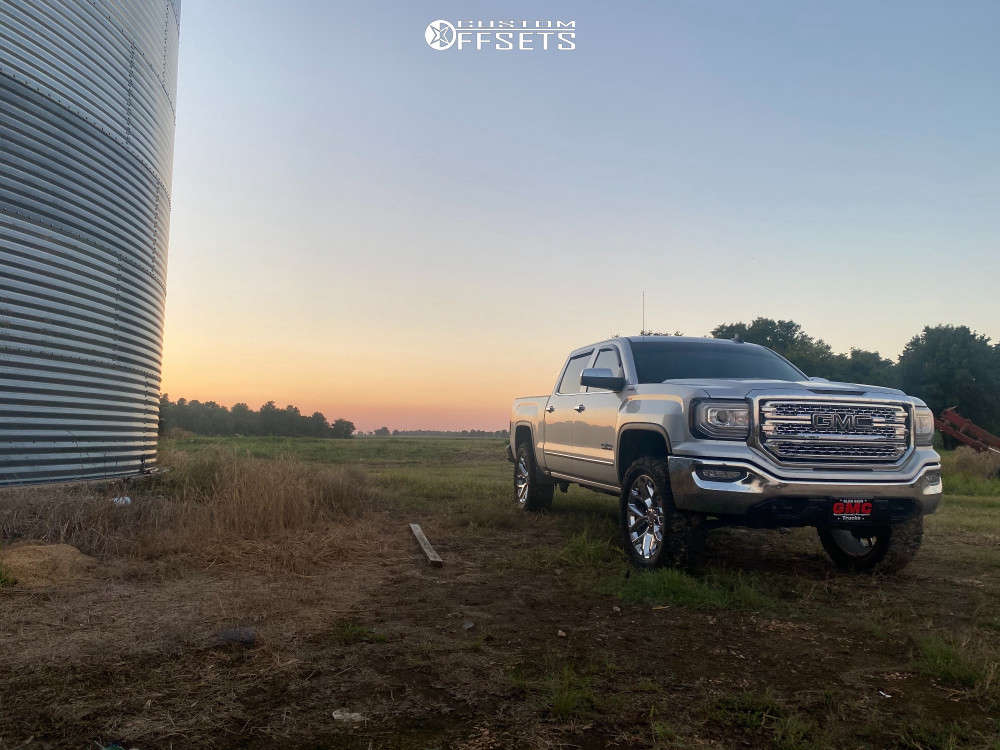 """2018 GMC Sierra 1500 Aggressive > 1"""" outside fender on 22x9 31 offset Replica Snowflakes & 35""""x12.5"""" Patagonia Milestar on Suspension Lift 4"""" - Custom Offsets Gallery"""