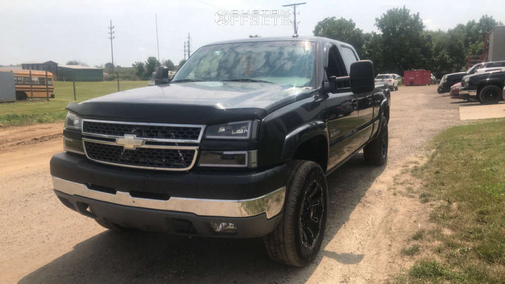 """2005 Chevrolet Silverado 2500 HD Classic Slightly Aggressive on 20x9 0 offset Ballistic Ravage & 33""""x12.5"""" Toyo Open Country A/t Iii on Level 2"""" Drop Rear - Custom Offsets Gallery"""