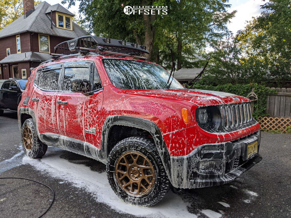 2017 Jeep Renegade Tucked on 16x7.5 30 offset KMC Km708 & 215/70 Toyo Tires Open Country A/t Ill on Stock Suspension - Custom Offsets Gallery