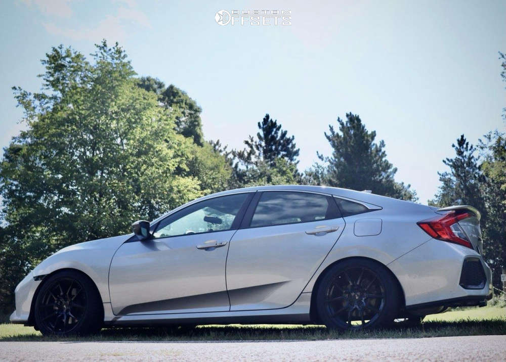 2018 Honda Civic Nearly Flush on 18x8.5 35 offset Option Lab R716 & 245/40 General G-max Rs on Lowering Springs - Custom Offsets Gallery