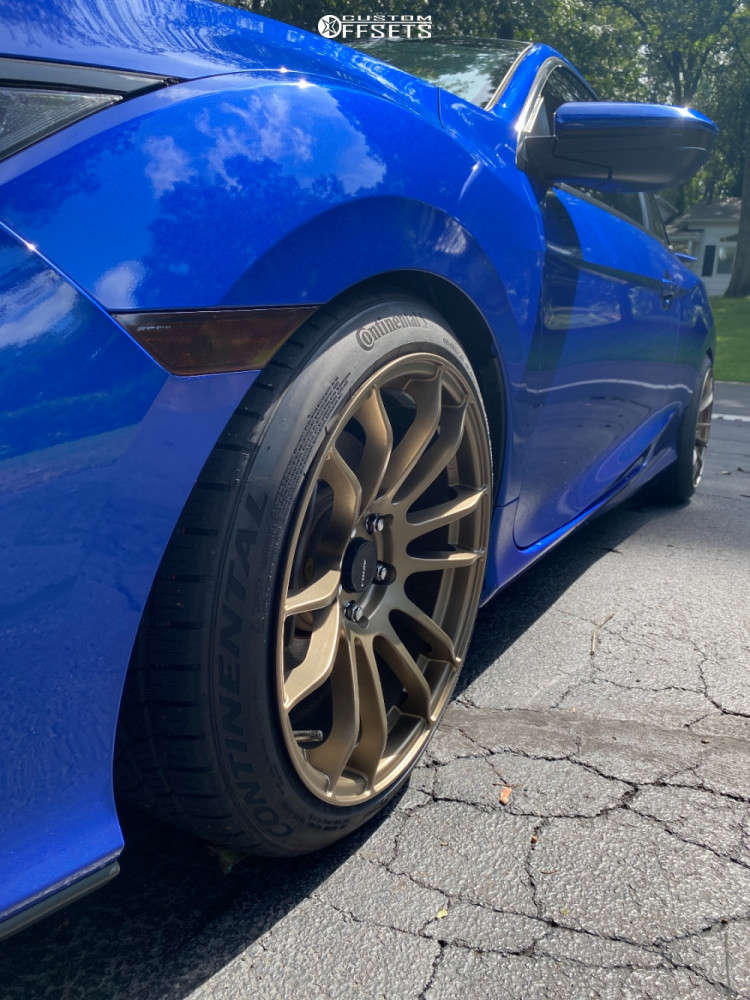 2019 Honda Civic Flush on 18x9.5 38 offset AVID1 Av20 & 235/40 Continental Extremecontact Dws06 on Coilovers - Custom Offsets Gallery