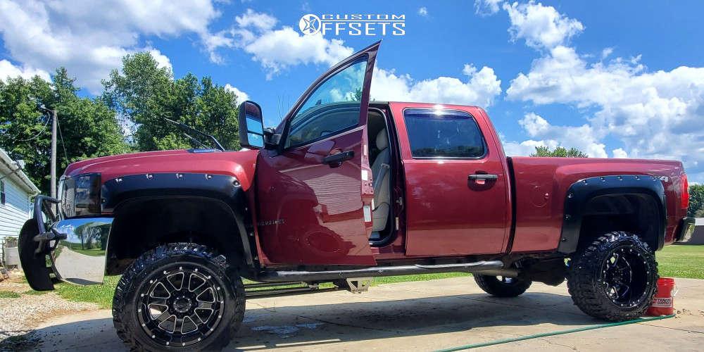 "2009 Chevrolet Silverado 2500 HD Aggressive > 1"" outside fender on 20x12 -44 offset Gear Big Block & 35""x12.5"" Gladiator Xcomp Mt on Suspension Lift 8"" - Custom Offsets Gallery"