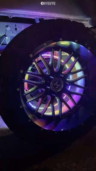 "2015 GMC Sierra 1500 Aggressive > 1"" outside fender on 22x12 -51 offset Hardcore Offroad Hc19 & 33""x12.5"" Venom Power Terrain Hunter X/t on Suspension Lift 6.5"" - Custom Offsets Gallery"