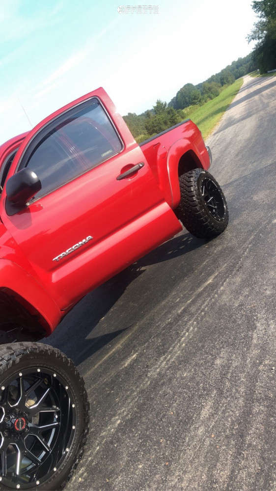 """2013 Toyota Tacoma Aggressive > 1"""" outside fender on 20x12 -44 offset Wicked Offroad W903 & 33""""x12.5"""" Falken Wildpeak Mt on Suspension Lift 6"""" - Custom Offsets Gallery"""