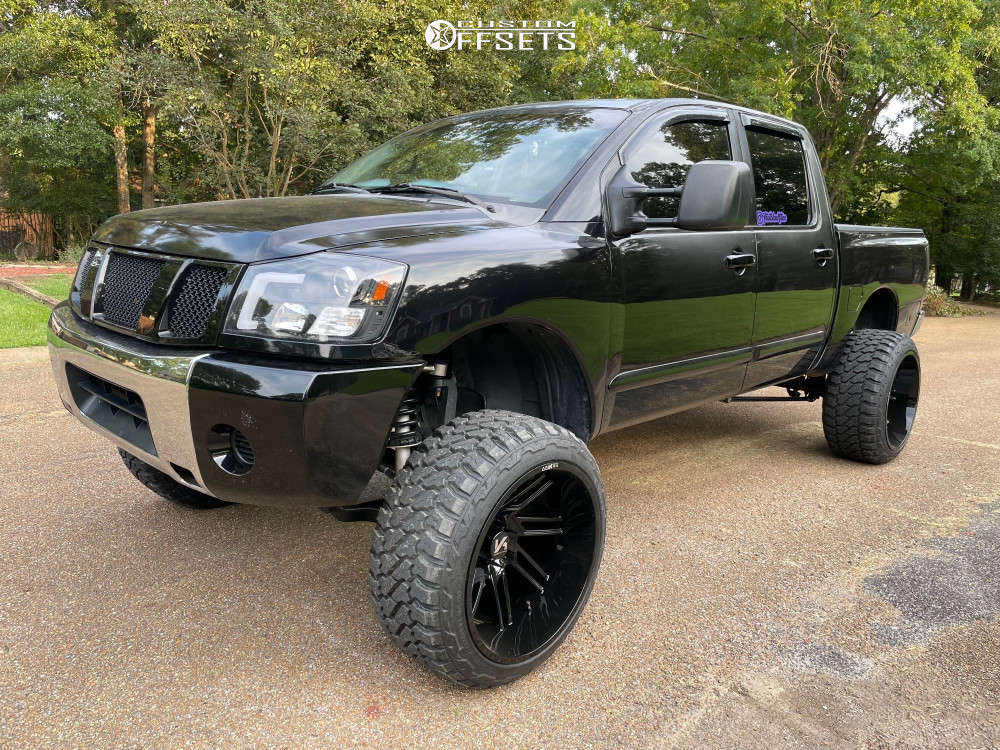 """2006 Nissan Titan Hella Stance >5"""" on 24x14 -81 offset ARKON OFF-ROAD Davinci & 35""""x13.5"""" Fury Offroad Country Hunter Mt on Suspension Lift 7.5"""" - Custom Offsets Gallery"""