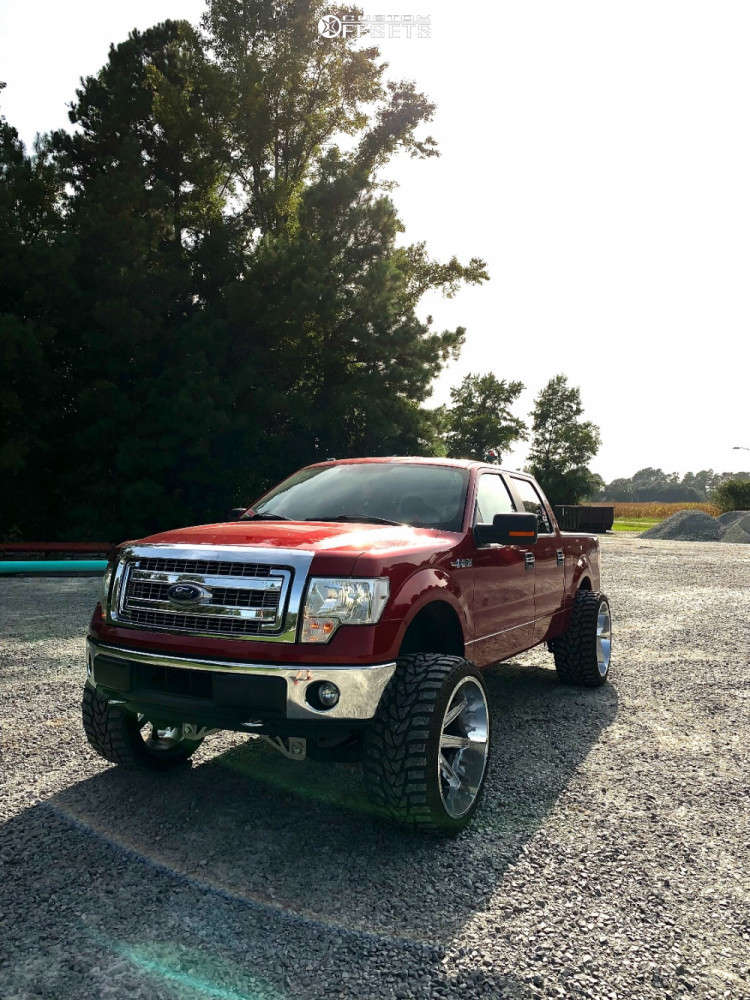 """2014 Ford F-150 Aggressive > 1"""" outside fender on 26x14 -76 offset Axe Offroad Artemis & 36""""x14.5"""" Versatyre Mxt on Suspension Lift 6.5"""" - Custom Offsets Gallery"""