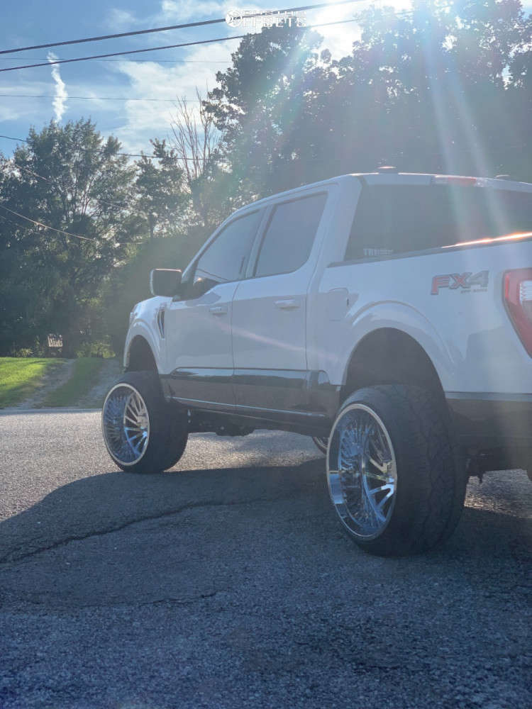 """2021 Ford F-150 Hella Stance >5"""" on 24x14 -81 offset ARKON OFF-ROAD Caesar & 305/35 Nitto Nt420v on Suspension Lift 4"""" - Custom Offsets Gallery"""