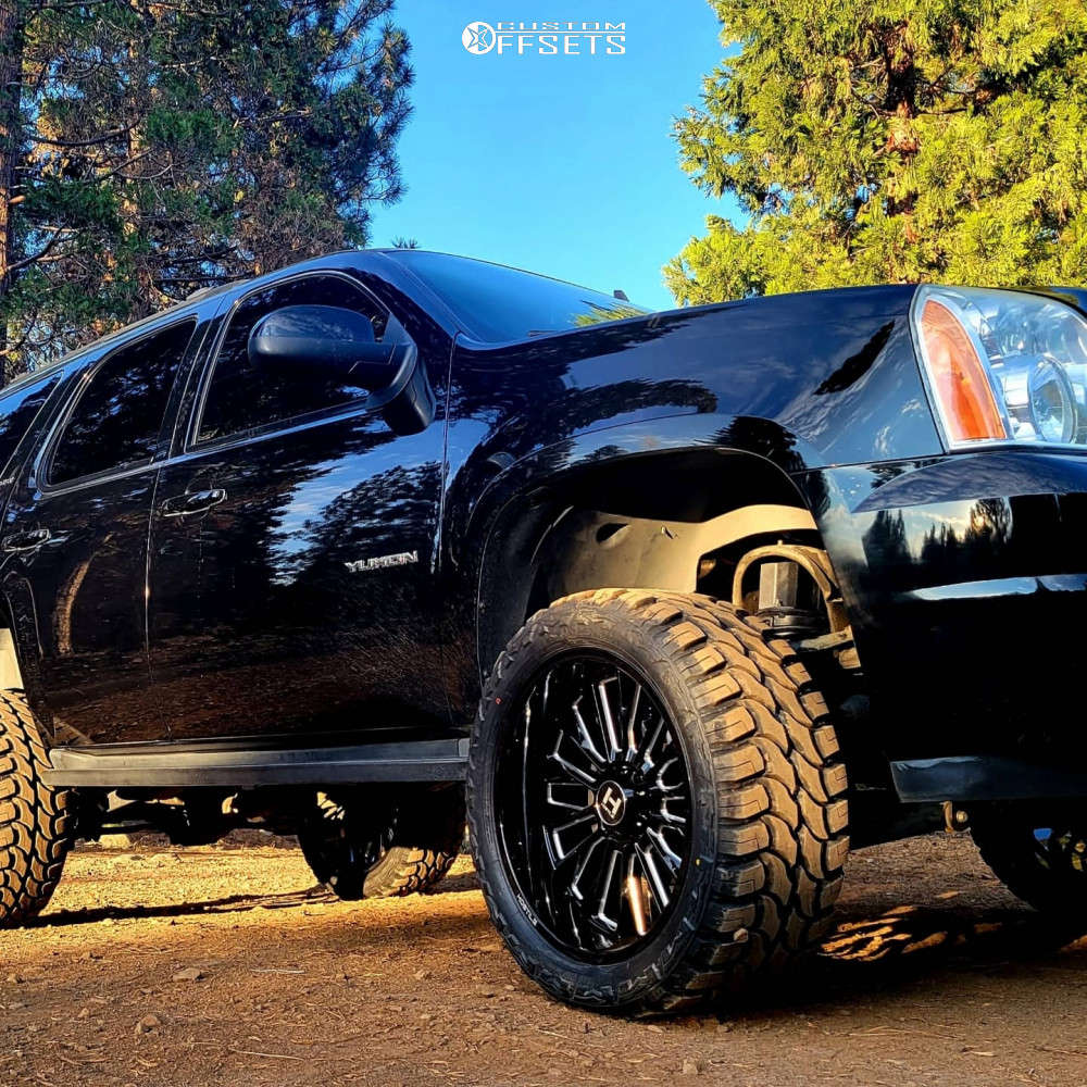 """2012 GMC Yukon Super Aggressive 3""""-5"""" on 22x10 -25 offset Hostile Fury & 33""""x12.5"""" Red Dirt Road M/t on Suspension Lift 5.5"""" - Custom Offsets Gallery"""