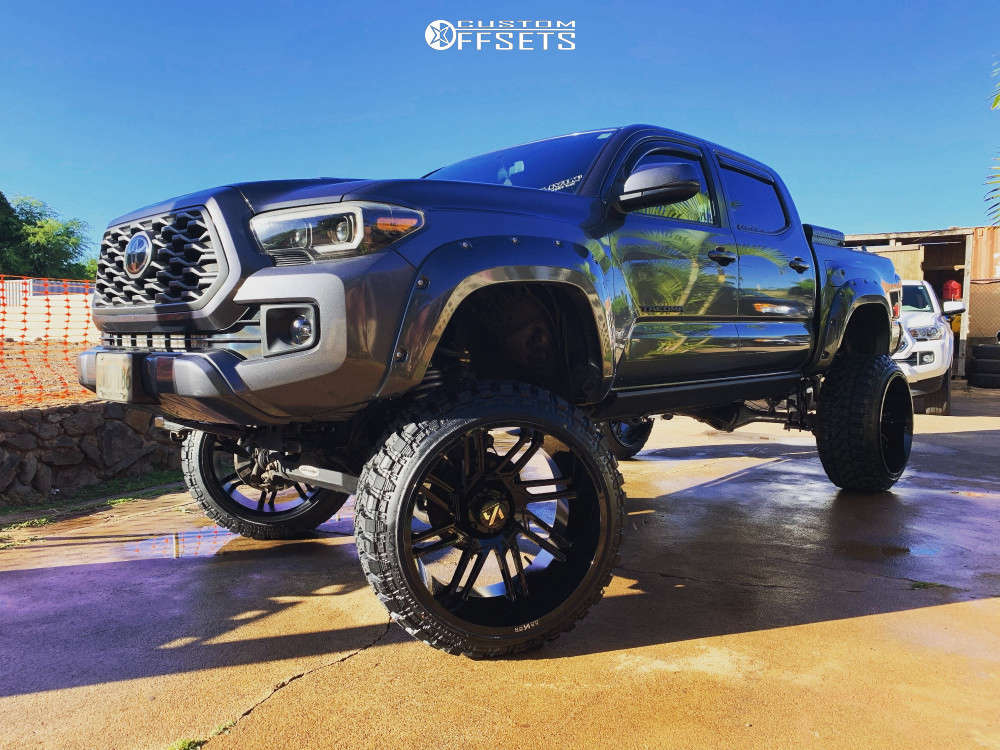 """2016 Toyota Tacoma Super Aggressive 3""""-5"""" on 24x14 -81 offset ARKON OFF-ROAD Davinci & 35""""x12.5"""" Fury Offroad Country Hunter M/t on Suspension Lift 8"""" - Custom Offsets Gallery"""