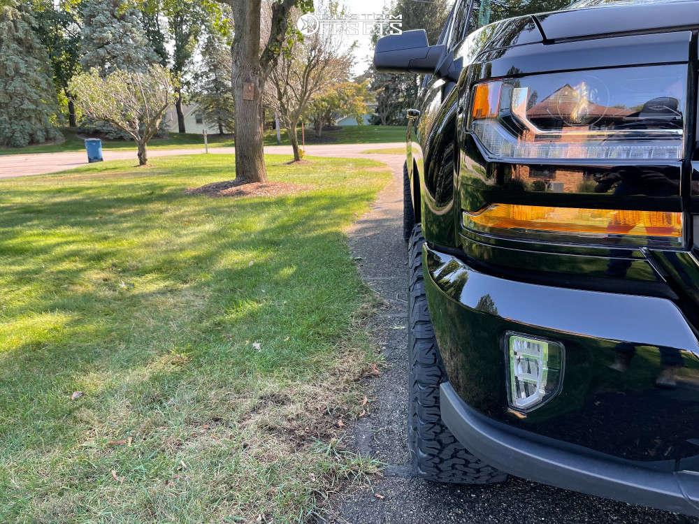 "2016 Chevrolet Silverado 1500 Aggressive > 1"" outside fender on 18x9 -12 offset Fuel Rebel & 305/65 BFGoodrich All Terrain T/a Ko2 on Leveling Kit - Custom Offsets Gallery"