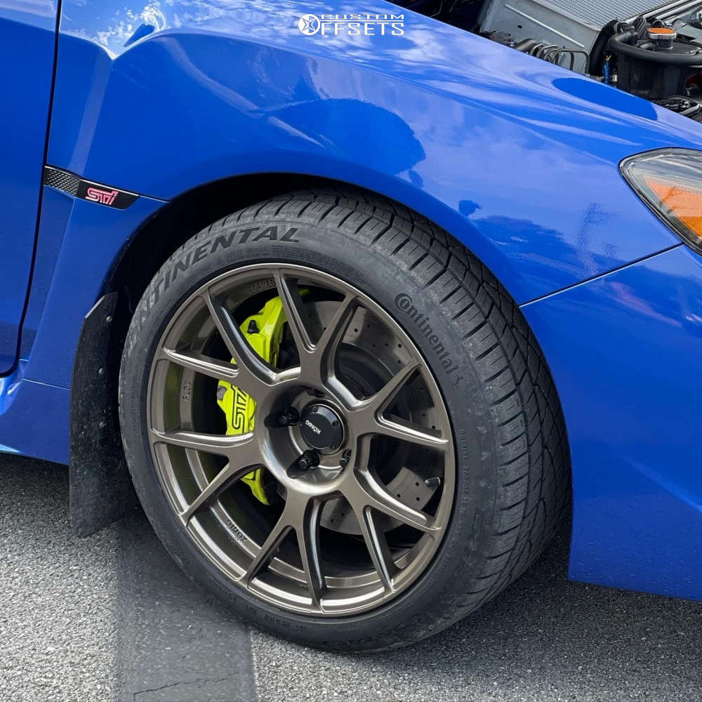2020 Subaru WRX STI Poke on 18x9.5 35 offset Konig Ampliform & 265/35 Continental Extremecontact Dws06 Plus on Stock Suspension - Custom Offsets Gallery