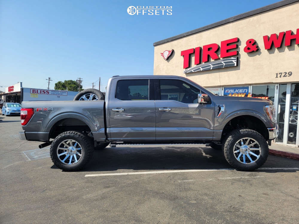 """2021 Ford F-150 Aggressive > 1"""" outside fender on 20x10 -19 offset Fuel Contra & 35""""x12.5"""" BFGoodrich All Terrain Ta Ko2 on Suspension Lift 6"""" - Custom Offsets Gallery"""