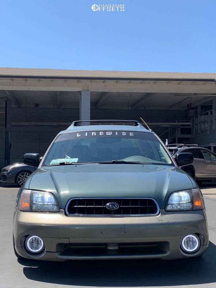 2001 Subaru Outback Flush on 18x8.5 40 offset Tesla Model 3 Aero & 215/35 Nankang Ns-20 on Coilovers - Custom Offsets Gallery
